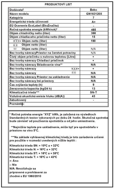 Produktový štítok chladničky BEKO GN 163120 X