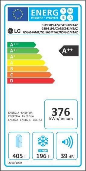 LG GSX960MTAZ – energetický štítok