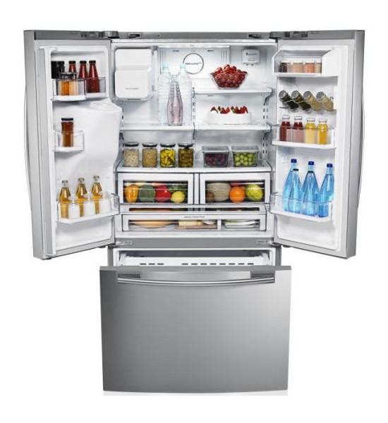 Americká chladnička typu french door Samsung RFG23UERS1 – otvorená