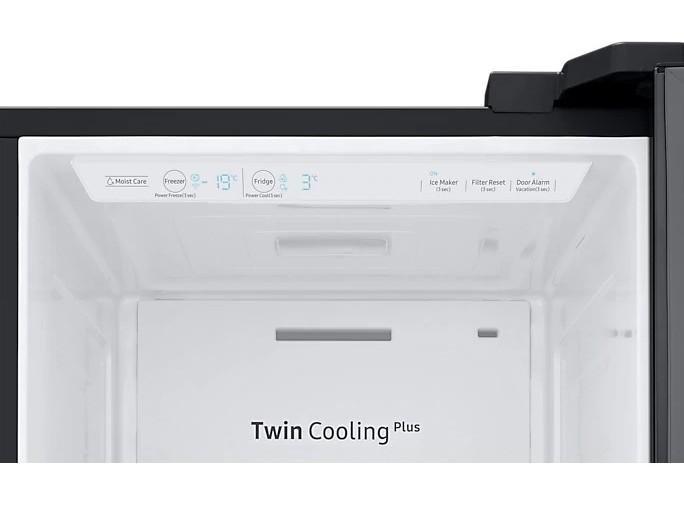 Americká chladnička Samsung RS67N8211B1 EF – pohľad dovnútra na systém Twin Cooling a ovládací panel