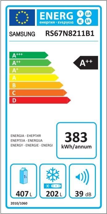 Americká chladnička Samsung RS67N8211B1 EF – Energetický štítok