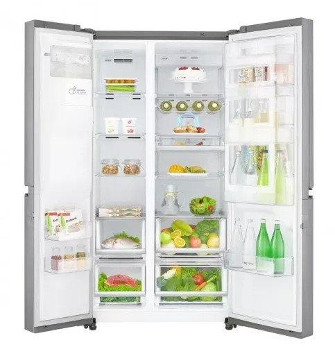 Americká chladnička LG GSJ960PZBZ – pohľad dovnútra na naplnenú chladničku
