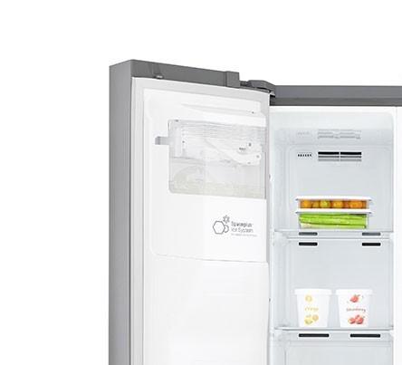 Americká chladnička LG GSJ960PZBZ – pohľad na výrobník ľadu v mraziacom priestore