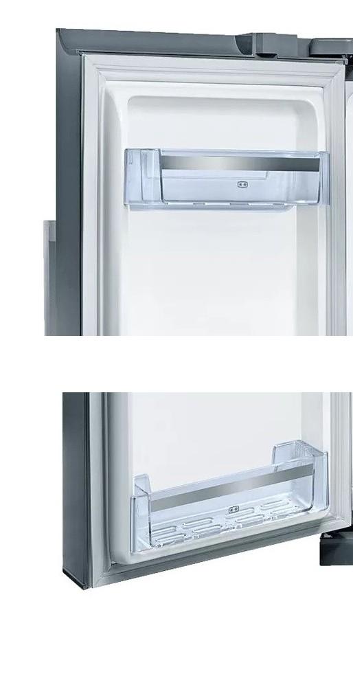 """Americká chladnička BOSCH KAD90VI30 – detail """"dvojhviezdičkových"""" poličiek na dverách chladiaceho priestoru"""