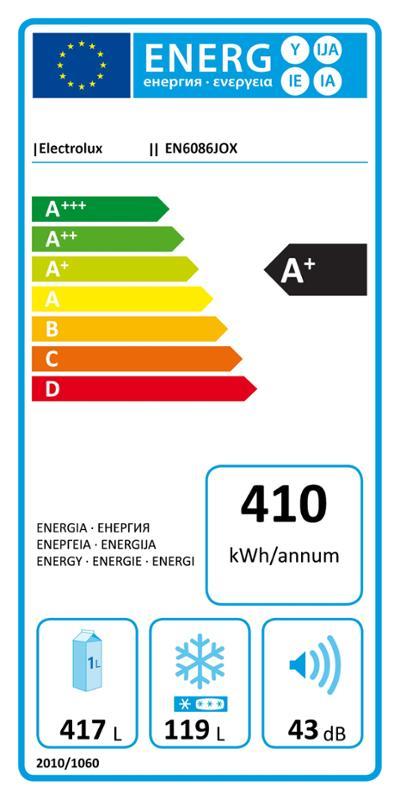 Americká chladnička Electrolux EN 6086 JOX – energetický štítok
