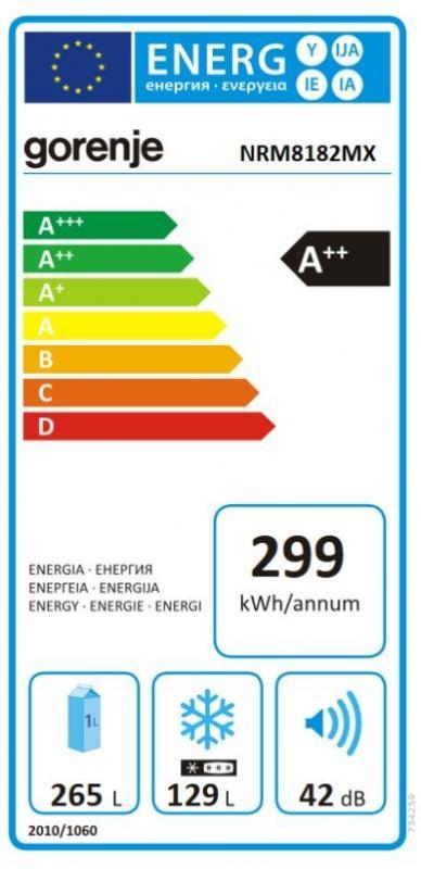 Americká chladnička Gorenje NRM8182MX – energetický štítok