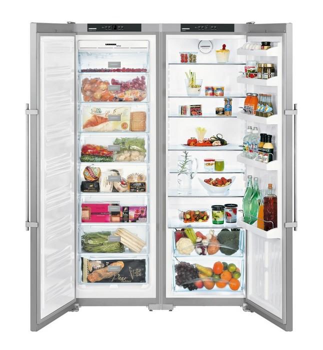 Americká chladnička Liebherr SBSesf 7212 – chladiaci priestor naplnený potravinami