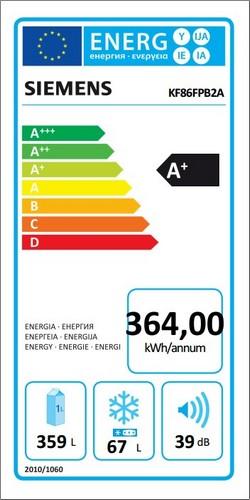 Americká chladnička Siemens KF86FPB2A – energetický štítok